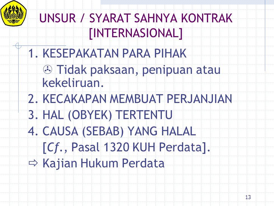 UNSUR / SYARAT SAHNYA KONTRAK [INTERNASIONAL]